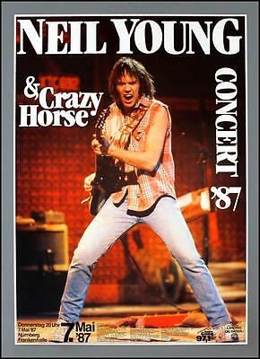 NEIL YOUNG - rare vintage original Germany 1987 Landing on Water concert poster