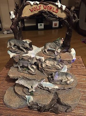 Set Of 6 Wolf Wolves Ornaments / Figurines And Display Stand Collectibles