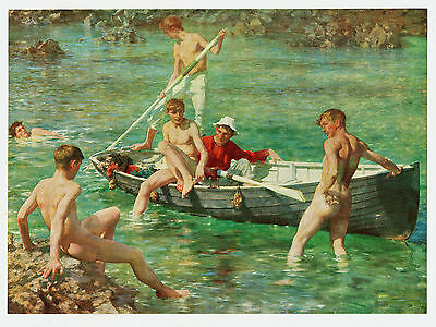 """Ruby, Gold & Malachite"" (Six Boys) Antique Litho - After Henry Scott Tuke, R.A."