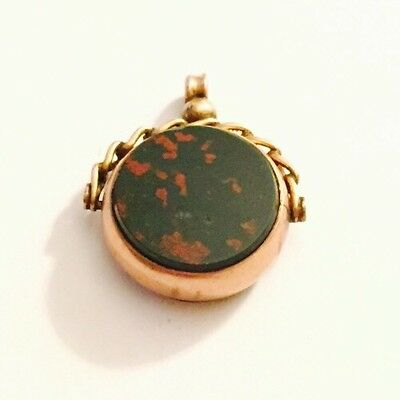 Magnificent 1897 Antique 9ct Gold Bloodstone & Amber Spinning Fob Seal