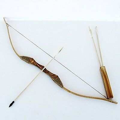 Youth Wooden Bow and Arrod with Qiver and Set of 3 Arrows