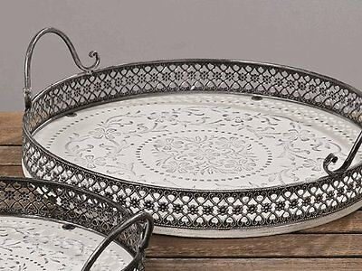 Wooden Serving Tray in Shabby Chic Antique Look, White, Diameter 37 cm