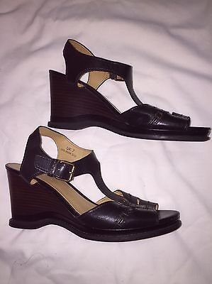 Beautiful Black Wedge Sandals From Footglove, Size 7 Wider Fit