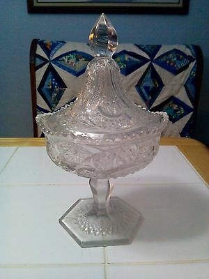 EAPG Glass Covered Saw Tooth Edge Compote Candy Serving Dish