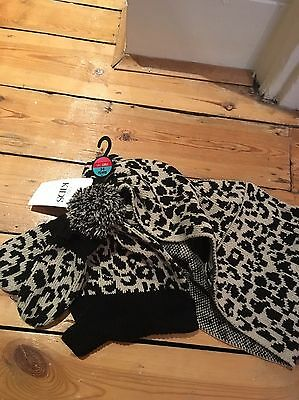 M&S Black And Beige Girls Hat, Mittens And Snood Set Age 3-6 BNWT