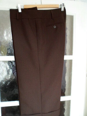 Ladies 3/4 length cropped brown trousers culottes with turn up -  size 16 - used