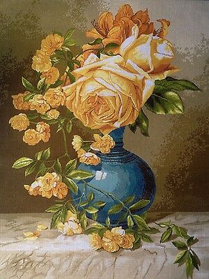"""Gobelin Tapestry Needlepoint Kit """"Roses"""" hand embroidery printed canvas 671"""
