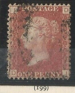 GB QV 1d Penny Red Stamp SG 43 Plate 199 (D-I) Very Good Used