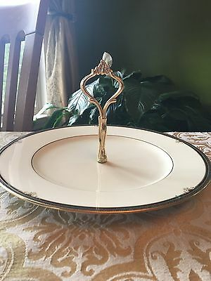 """Noritake LADY QUENTIN 11"""" round serving plate with handle"""