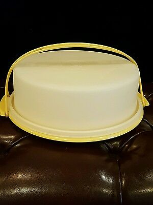 "Vintage Tupperware Pie Taker 12"" Harvest Gold with Handle #719, 720 & 721"