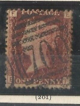 GB QV 1d Penny Red Stamp SG 43 Plate 201 E-F Good Used 700 SHEFFIELD Postmark