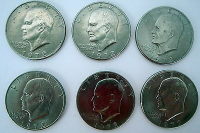 1972 Eisenhower DOLLAR Coin lot of (6) Very Good Condition Circulated