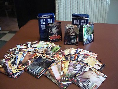 74 Dr Who trading cards Battles of in time 2006 plus 2 TARDIS storage containers