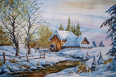 "Tapestry Gobelin Needlepoint Kit ""Winter"" printed canvas 19.5"" x 27.5"" cod.659"