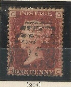 GB QV 1d Penny Red Stamp SG 43 Plate 203 (B-C) Very Good Used