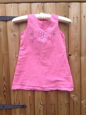 Next Pretty Pink Girls Embroidered Dress 2-3 Years