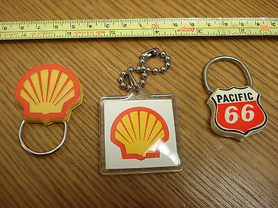 3x Pacific 66 & Shell Gas Station Promo Key Fob ELMER'S GAS BAR Weyburn B2