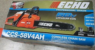 NEW! Echo 16 in. 58-Volt Lithium-Ion Brushless Cordless Chainsaw CCS-58V4AH