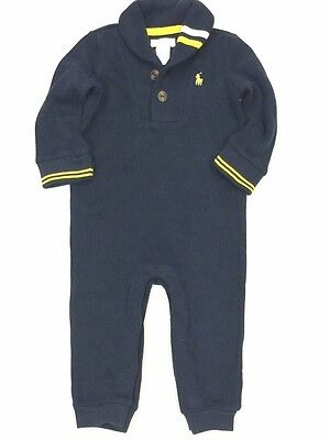 Ralph Lauren Baby Boy Polo Outfit Romper Dark Blue Striped 100% Cotton Long  9M
