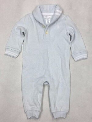 Ralph Lauren Baby Boy Polo Outfit Romper Light Blue Striped Cotton Long  6M