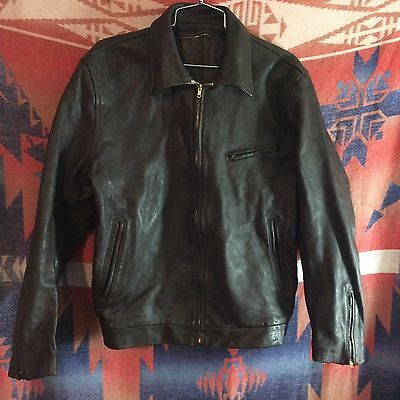 VINTAGE 40's 50's GOATSKIN MOTORCYCLE AVIATOR CAR LEATHER JACKET SZ M