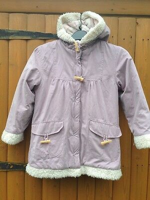 Girls Matalan Hands Off My Coat Hooded Coat Jacket With Fur Pink Lilac 8-9 Years