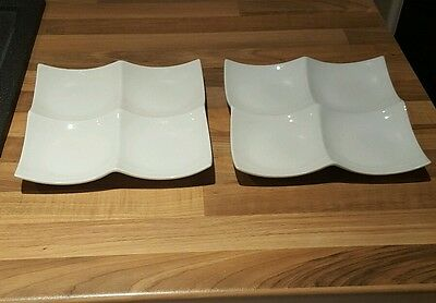 White Porcelain plate Snack Serving Plate Dish compartments x 2