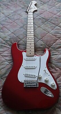 "Fender Squier, Strat - Stratocaster, Electric Guitar, Red ""Pete Townshend"" Copy."