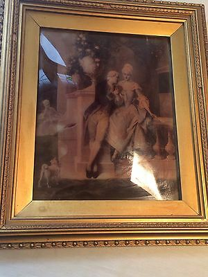 Antique Victorian / Edwardian Crystoleum Picture Large On Reverse Beveled Glass