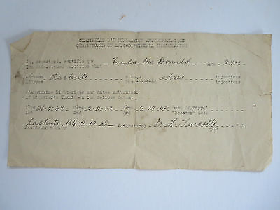 Vintage Canadian 1942 Anti-Diphtheria Immunization Cert. 1942 For 9 Year Old