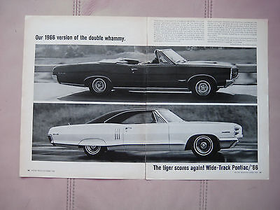 1966 PONTIAC GTO CONVERTIBLE & 2+2(421)- Original  Print Car Ad - Excellent Cond