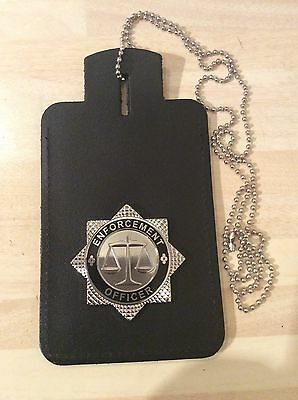 Neck Chain ID Card Holder With Enforcement Officer Badge