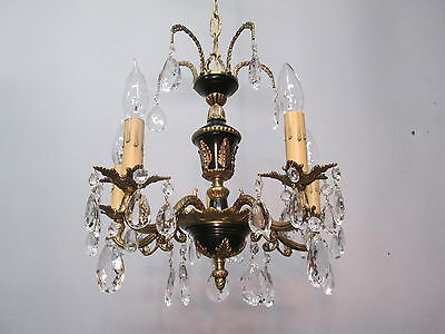 "Vintage Antique Spanish Brass Chandelier Ornate Crystal Prisms 34 1/2"" L"