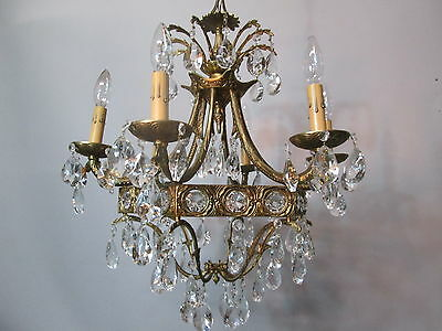 Vintage Antique Spanish Brass  Empire Waterfall Chandelier Crystal Prisms