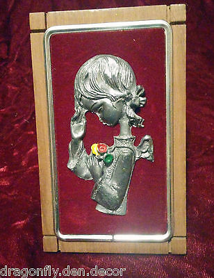 Peltro Cesellato Mano Italian Chiseled Pewter Plaque Picture Angel Girl Praying