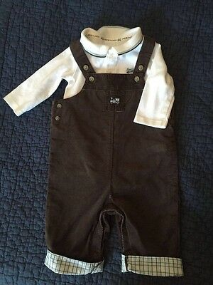 Janie and Jack Train Overalls and onesie,size 0-3 months