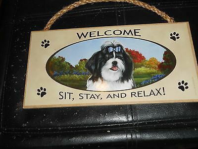 "Welcome Sit, Stay And Relax Hanging Sign Plaque Shih Tzu 5""x10"""
