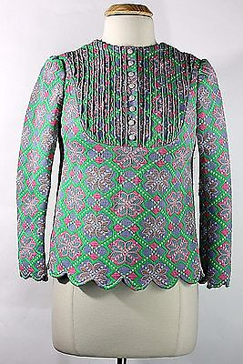Vintage Early 70s Thick Knit Purple Green Pink Nordic Floral Print Top Sz S