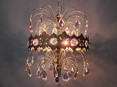 "Vintage Antique Chandelier Ceiling Light AB Crystal Prisms 37""  Sparkling!!"