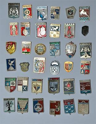 USSR Soviet Russian City Crests Coat Of Arms Heraldic vintage pin badge lot