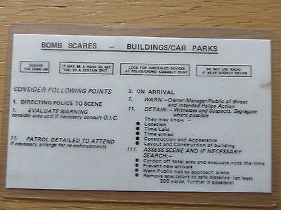 Ruc Bomb Scare Instruction Card