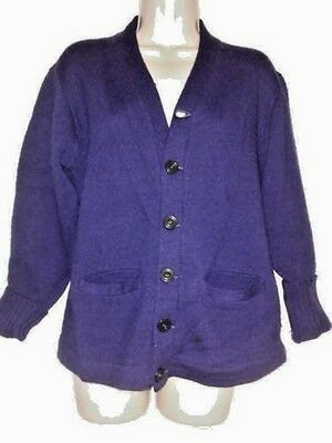 Vintage 50s Stadium 100% Wool Shaker Royal Blue Varsity School Cardigan Sweater