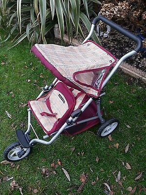 Mamas And Papas Dolls Double Pram/Buggy 3 Wheeler With Storage Under And Hood.