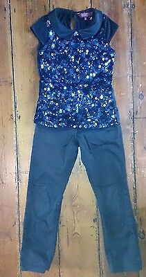 Ted Baker Xmas outfit set age 5 6 7 Navy sequin top  5-6 Black skinny jeans 7