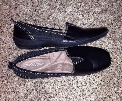 Women's Naturalizer Shoes 7.5 Black Leather Loafers Natural Souls