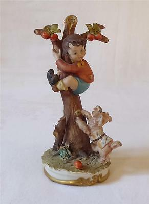 Italian Capodimonte Figure Of A Boy Climbing A Tree From His Barking Dog
