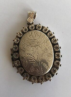 Large Vintage Locket Victorian Style Big Size Heavy Silver Tested