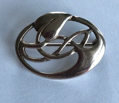 """Art Nouveau Style Sterling Silver 925 Stamped  Brooch 1"""" Celtic"""