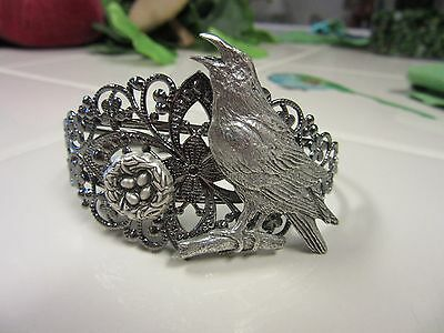 Handsome Raven And Nest Silver Plated/pewter Bracelet-Limited Edition