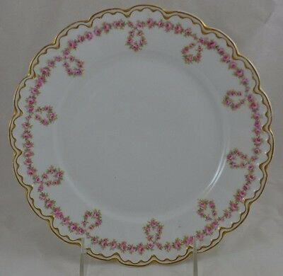 "Theodore Haviland Limoges Double Gold Drop Rose Garland 8 5/8"" See condiiton"